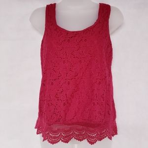 10/$35 MOSSIMO Lace Overlay Tank Top Medium